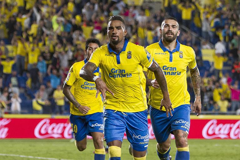 El delantero ghanés Prince Boateng ha recuperado su mejor nivel en la UD. Las Palmas. EFE/Ángel Medina G.