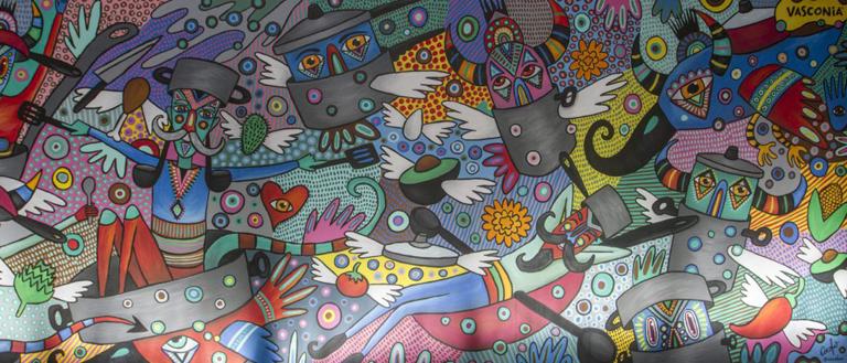 Develan Saltimbanquis y sabor, mural del artista plástico Cocolvú